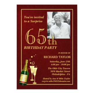 Custom 65th Birthday Party Invitations - Burgundy