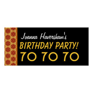 Custom 70th Birthday or Any Year Gold Stars Poster