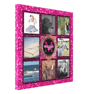 Custom 8 Square Photo Collage Girly Pink Monogram Canvas Print