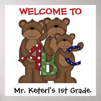 Custom ABC Bears School Welcome Poster