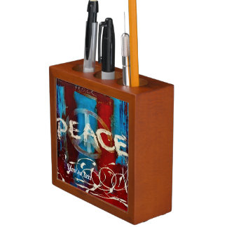 Custom abstract in red blue and white peace sign pencil holder