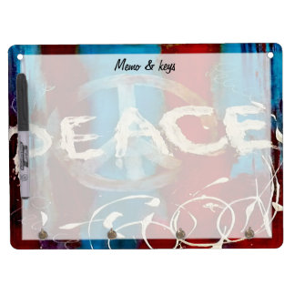 Custom abstract in red blue and white peace sign dry erase whiteboards
