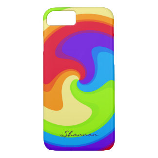 Custom Abstract Rainbow Swirl iPhone 7 case