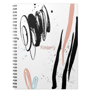 Custom Abstract Shapes & Curves Boho-Style Spiral Note Book