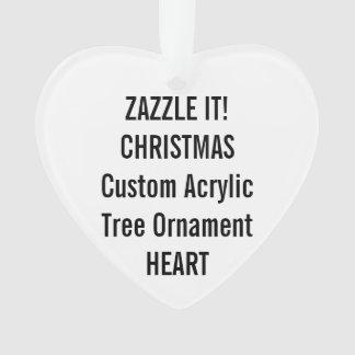Custom Acrylic HEART Christmas Tree Ornament Blank