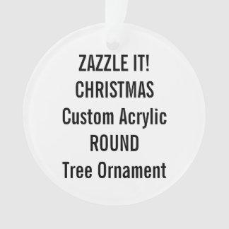 Custom Acrylic ROUND Christmas Tree Ornament Blank