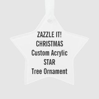 Custom Acrylic STAR Christmas Tree Ornament Blank
