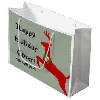 Custom / ADD NAME - Happy Holiday Cheer / Reindeer Large Gift Bag