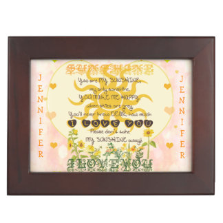Custom Add Name You Are My Sunshine Keepsake Box