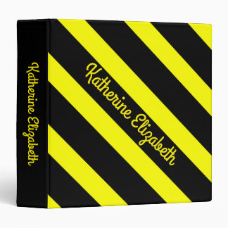 Custom Add your Name Bold Yellow and Black Striped 3 Ring Binders