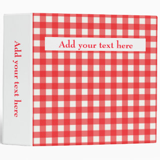Custom Add Your Text Cafe Red Gingham Pattern 3 Ring Binder