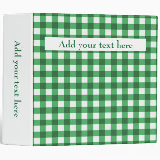Custom Add Your Text Kelly Green Gingham Pattern Vinyl Binder