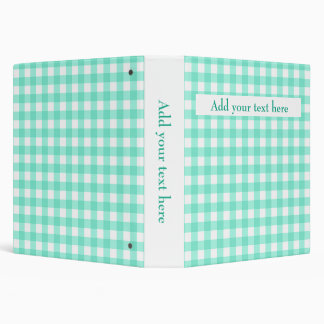 Custom Add Your Text Mint Green Gingham Pattern Binder