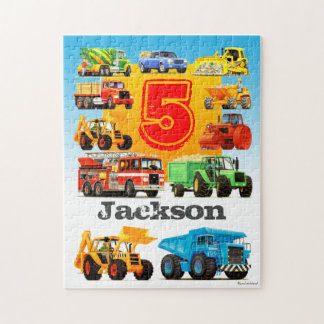 Custom Age and Name Kid's Construction Truck Puzzle