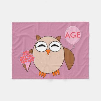 Custom Age Birthday Owl Fleece Blanket