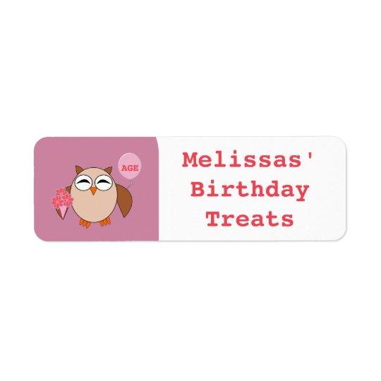 Custom Age Birthday Owl Food Labels