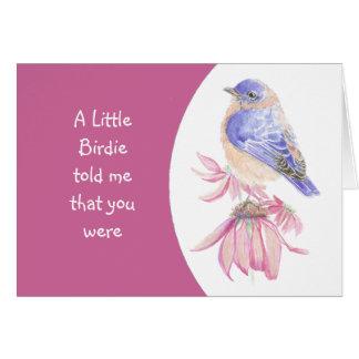 Custom Age Birthday Pink Flower and Bluebird Card