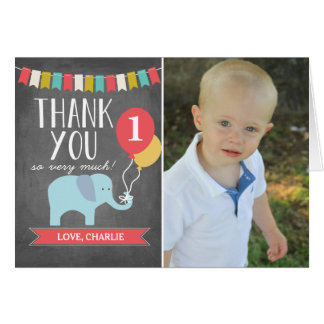 Custom Age Elephant | Birthday Thank You Card