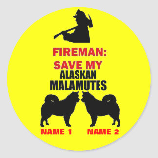 Custom Alaskan Malamute Fire Safety Round Sticker