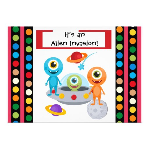Custom Alien Invastion 5x7 Birthday Invitation