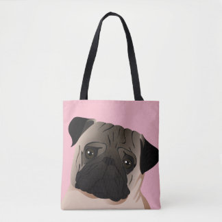 Custom All-Over-Print Tote Bag Pug