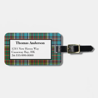Custom Anderson Tartan Plaid Luggage Tag