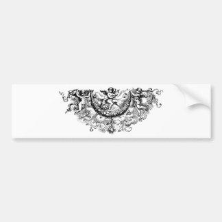 Custom angel wings cherub fleur di lis print bumper sticker