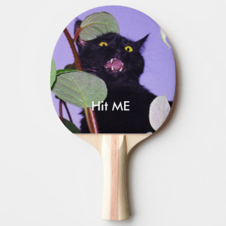 Custom Angry Halloween black cat Ping Pong Paddle