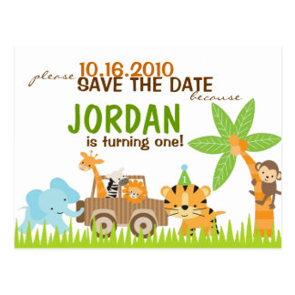 Custom Animal Safari Save The Date Postcard