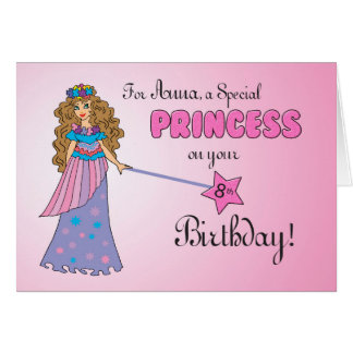 CUSTOM Anna 8th Birthday Pink Princess Card