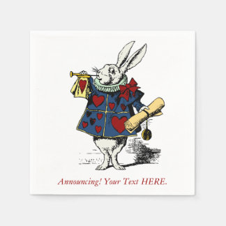 Custom Announcement Alice in Wonderland Rabbit Disposable Napkins