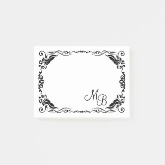 Custom Antique Floral Scroll Border Pattern Post-it Notes