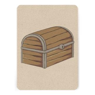 Custom Antique Wooden Pirate Treasure Chest Personalized Invite