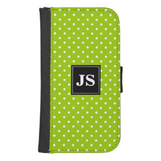 Custom apple green polkadot Samsung wallet case