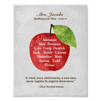 Custom Apple Teacher Appreciation Gift Poster