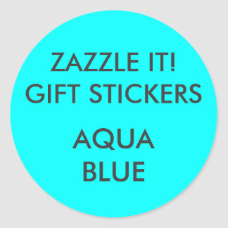 Custom AQUA BLUE ROUND Gift Stickers Template
