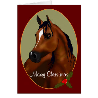 Custom Arabian Horse Christmas Cameo Card