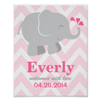 Custom Art Print | Pink and Gray Elephant
