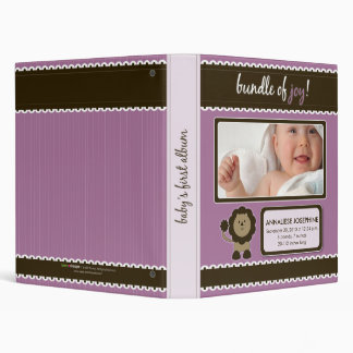 Custom Baby Album: Lavender Lion Bundle of Joy Vinyl Binder
