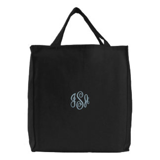 Custom Baby Blue Monogram Embroidered Bag