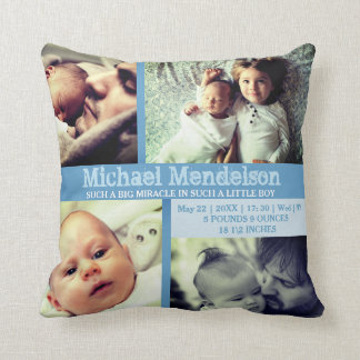 Custom Baby boy blue stat cushion