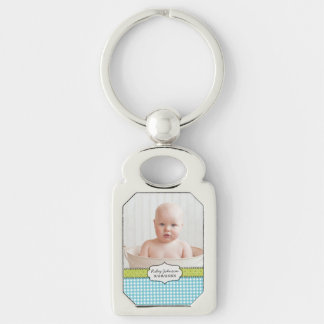 Custom baby boy photo name and birthday keepsake Silver-Colored rectangle keychain
