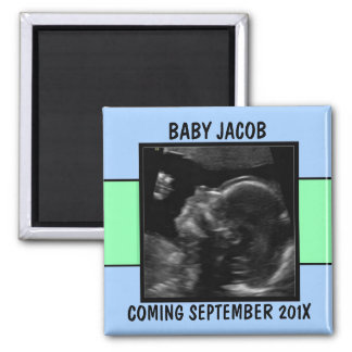 Custom Baby Boy Ultrasound Photo Magnet