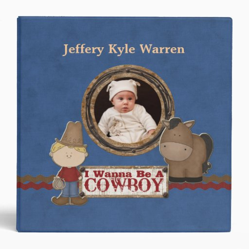 Custom Baby Boy's Cowboy Western Album 3 Ring Binders