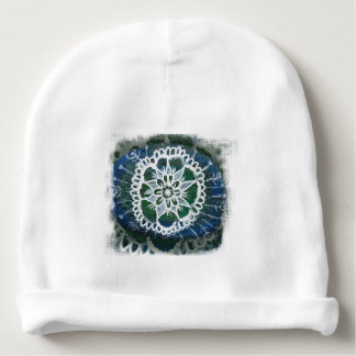 Custom Baby Cotton Beanie White mandala blue Baby Beanie