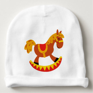 Custom Baby Cotton Beanie with rocking horse Baby Beanie