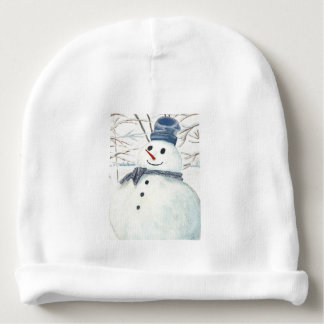 Custom Baby Cotton Beanie with Snowman Baby Beanie