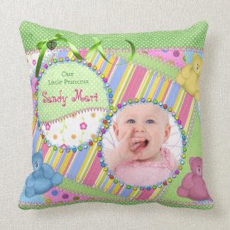 Custom Baby Girl Photo Frame Teddy Bear Polka Dots Throw Pillow