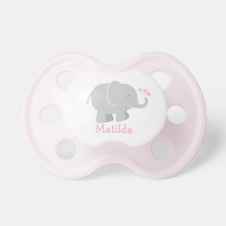 Custom Baby Pacifier | Pink and Gray Elephant