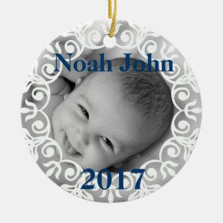 Custom Baby Photo & Name Christmas Ornament